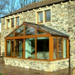 New Build nr Skipton N Yorkshire - Doors, windows and sun room all supplied in Idigbo West Afrrican hardwood