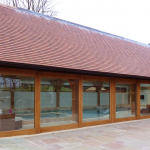 Sliding Patio Doors in Laminated Oak - Beautifully crafted sliding patio doors at Larkhill Farm in Liverpool.