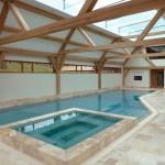 Laminated Oak Windows Surround the Pool - Larkhill Farm Project