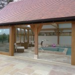 Sliding Patio Doors in Laminated Oak - Opened - Larkhill Farm Liverpool