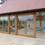 Sliding Patio Doors in Laminated Oak - Part Opened - Another angle showing these quality doors.